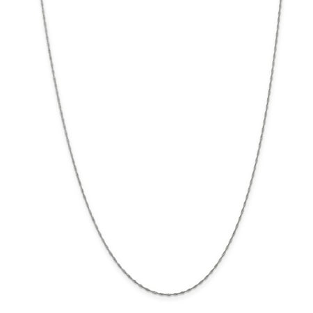 14K White Gold 1mm Singapore Necklace Chain -14