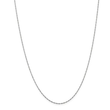 14K White Gold 1mm Singapore Necklace Chain -18