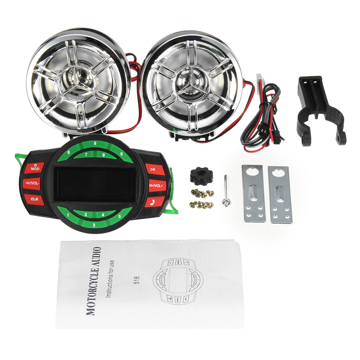 3'' Bluetooth Motorcycle Handlebar Audio System USB motorcycleaccessorie SD FM Radio MP3 Speakers 12V