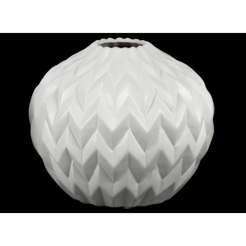Urban Trends Collection UTC21417: Ceramic Round Low Vase with Round Lip and Embossed Wave Design Matte Finish White