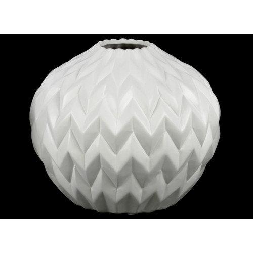 Urban Trends Collection Ceramic Matte White Round Low Vas...