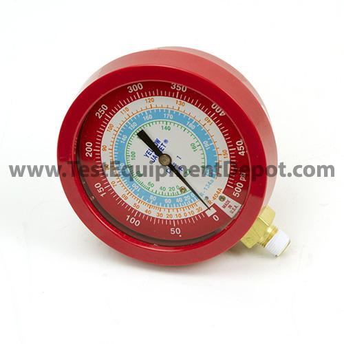 "Yellow Jacket 49513 3-1/2"" L/F (°F), Red Pressure Gauge, 0-500 Psi, R-22/134A/404A"