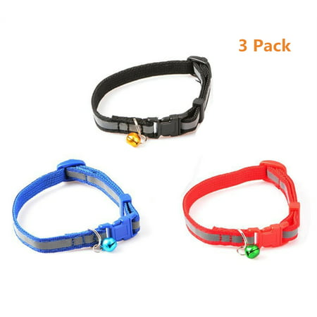 Leather Breakaway Cat Collar - 3Pcs Reflective Cat Collar with Bell, Solid & Safe, Best Small Pet Collar, 7.48