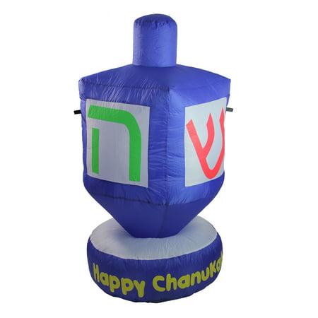 4' Blue Happy Chanukah Inflatable Dreidel Outdoor - Hanukkah Inflatable Decorations