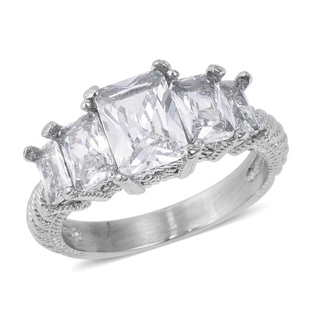 Stainless Steel Baguette White Cubic Zirconia CZ Statement 5 Stone Ring for Women Jewelry Cttw 4.9