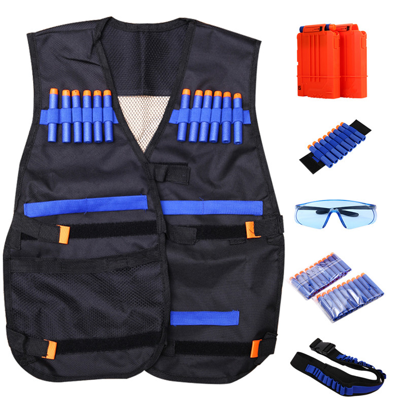 Kids Tactical Vest for Gun N-strike Elite Series(with 20-Dart Refill + Protective Goggles Glasses + 2 Pcs 6-dart Quick... by