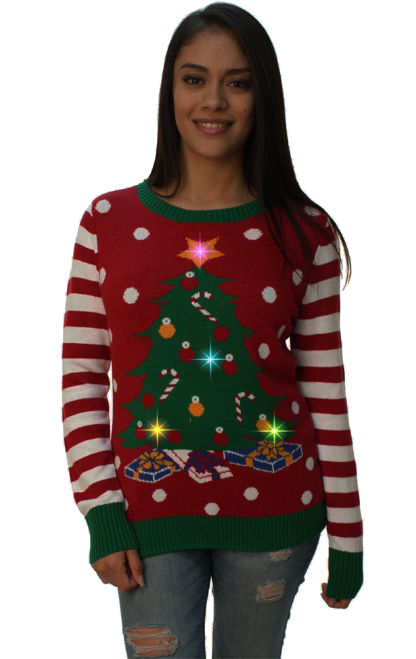 Ugly Christmas Sweater Womens Christmas Tree Led Light Up Sweater