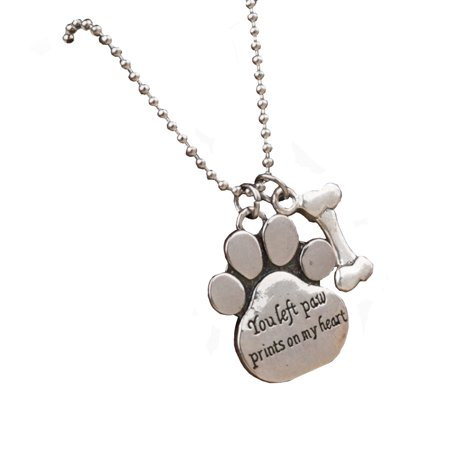 Pet Memory Memorial Paw And Bone  You Left Paw Prints on My Heart Pendant Anti-Tarnish Necklace Jewelry-242-A