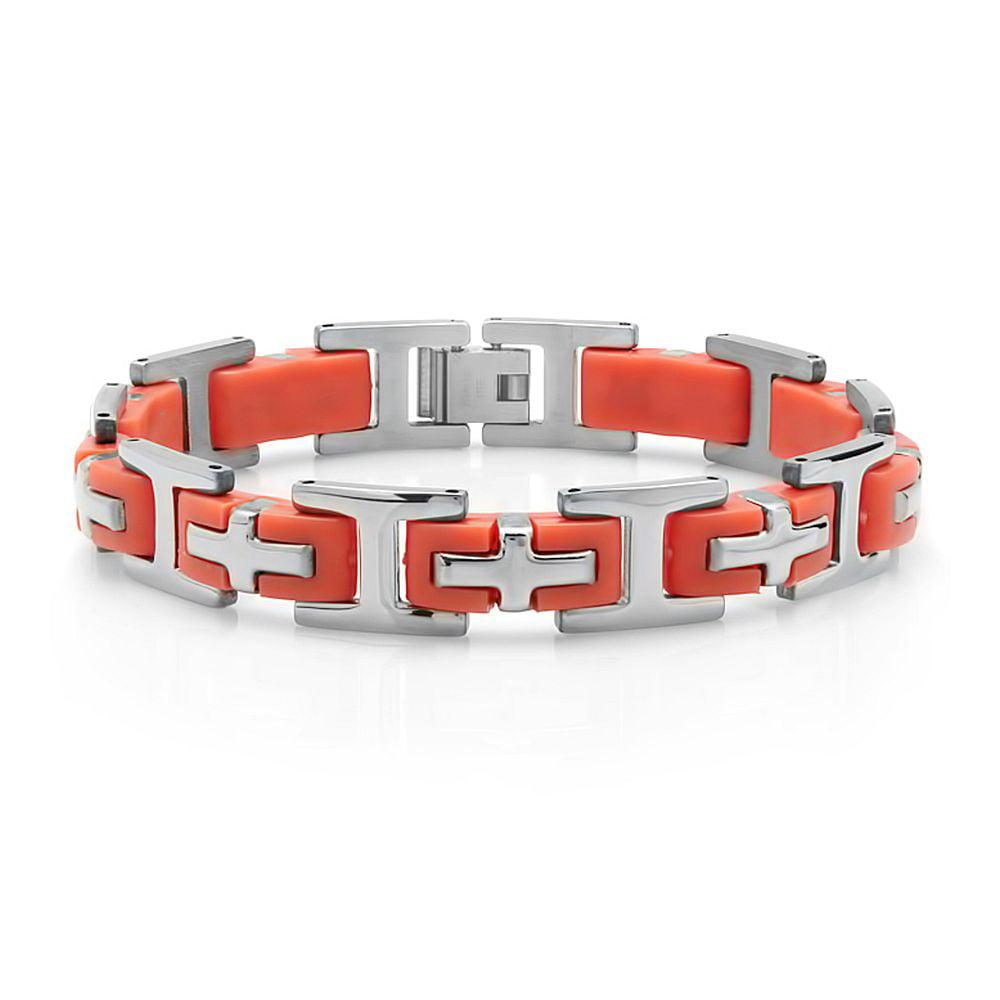 "8"" Men's Stainless Steel Cross Orange Rubber Bracelet 8 Inch Length 12mm Wide"