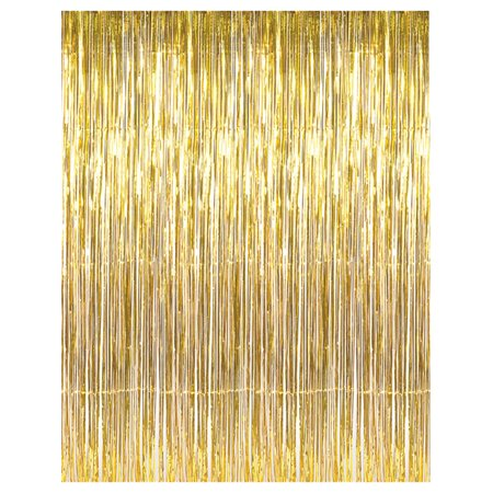 3' x 8' Gold Tinsel Foil Fringe Door Window Curtain Party Decoration](Tinsel Gold)