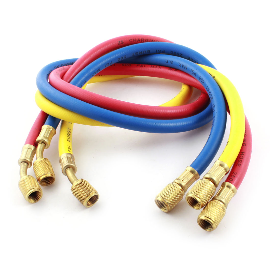 3 Pcs 1/8PT Threaded Connecting Refrigeration Charging Hoses Tubes R12 R22 R502