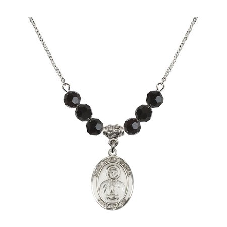 18-Inch Rhodium Plated Necklace with 6mm Jet Birth Month Stone Beads and Saint Peter Chanel Charm](Chanel Charm)