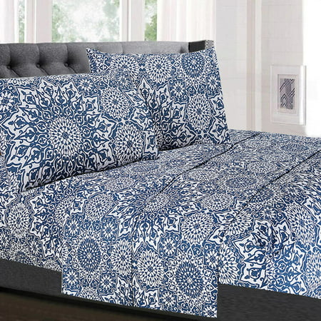 Oasis Blue Mandala Pattern 4-Piece 1800 Thread Count Sheet Set