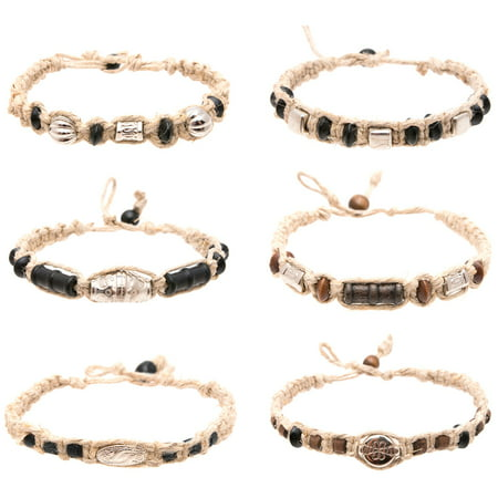 Hemp Anklet Bracelet Set of 6 for Men Women Unisex - Handmade Braided Bracelets Anklets with Silver Tribal Beads - Great Surfer Hawaiian Style Jewelry Bead Hemp Bracelet