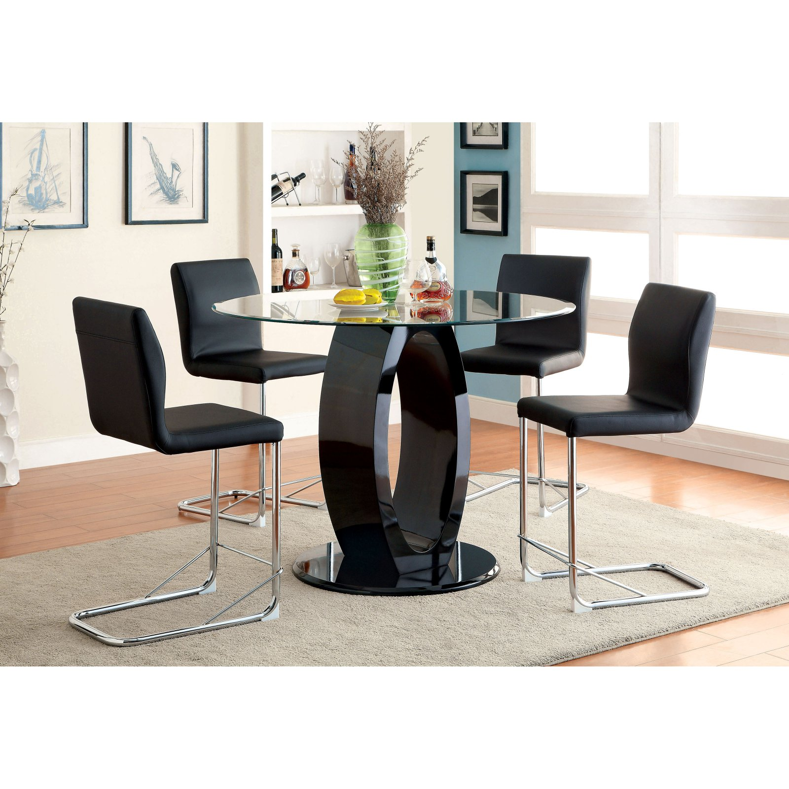 Furniture of America Damore Contemporary 5 Piece Counter Height High Gloss Round Dining Table Set - Black