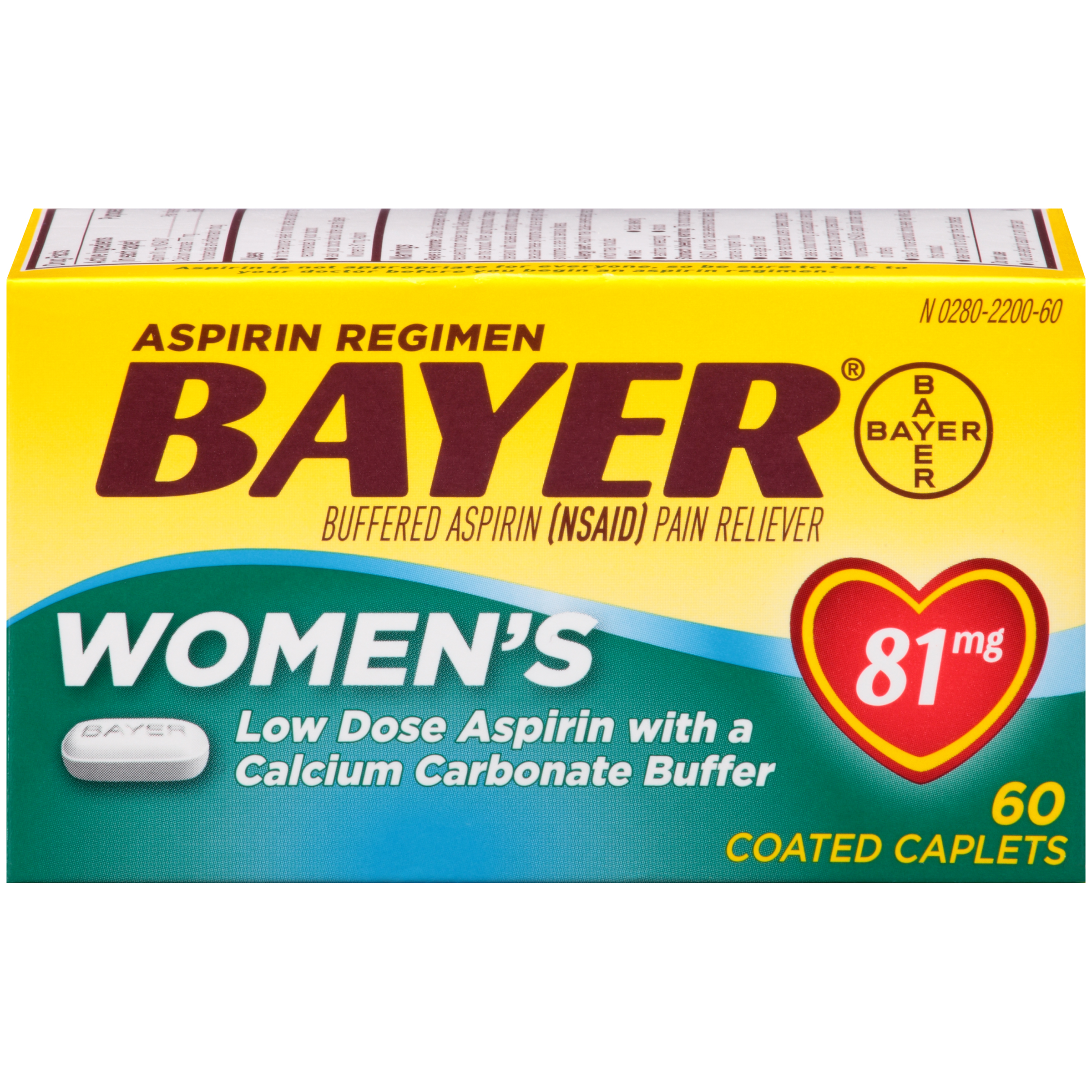 Bayer Women's Low Dose Aspirin Regimen Pain Reliever Coated Tablets, 81mg, 60 Ct
