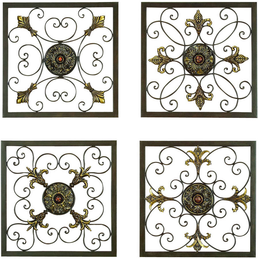 Decmode Metal Wall Plaque, Set of 4, Multi Color