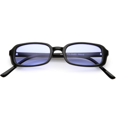 True Vintage Small Frame Rectangle Sunglasses Color Tinted Lens 46mm (Black / (Fair Trade Sunglasses)