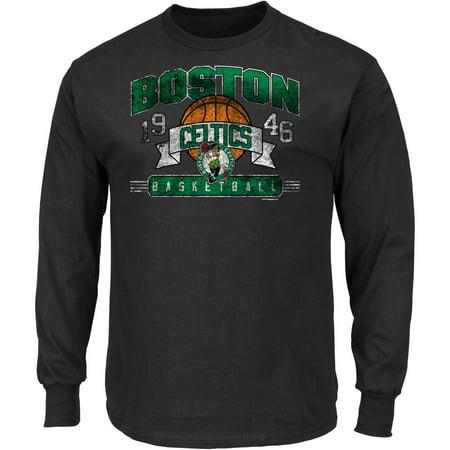 Nba Boston Celtics Big Mens Long Sleeve Crew Neck Basic Tee