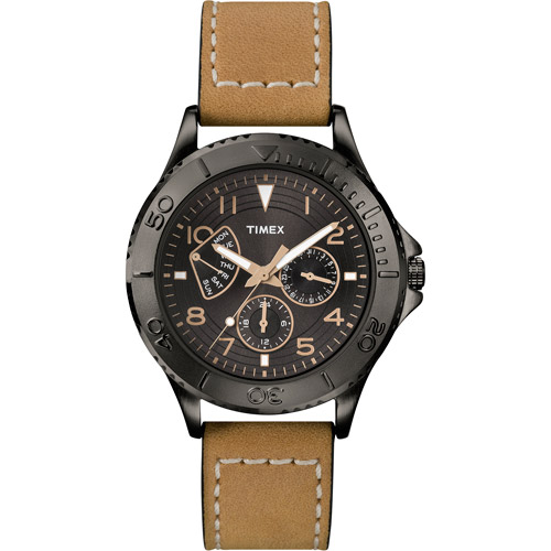 Timex Men's Ameritus Retrograde Black Dial Watch, Tan Leather Strap