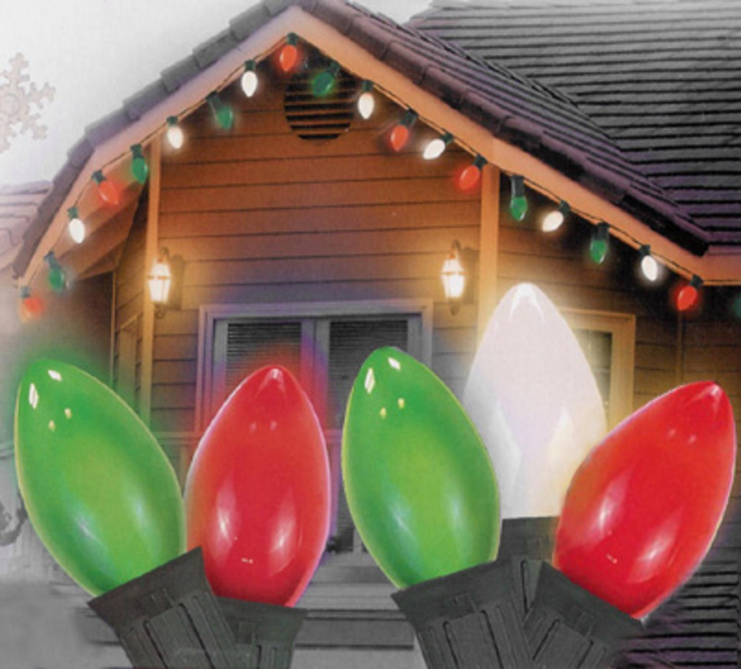 Set of 25 Opaque Green, Clear White, and Red C9 Christmas Lights ...