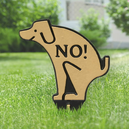 - Whitehall No Poop Dog Silhouette Cast Aluminum Yard Sign (Gold/Black)