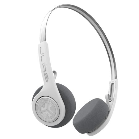 JLab Audio Rewind Wireless Retro Headphones - White - Bluetooth 4.2 Twelve Hours Playtime Custom EQ3 Sound Play and Pause Your Music Answer & Hang Up Phone Calls and Track Forward Throwback 80s (Best Wireless Headphones For Phone Calls And Music)