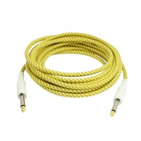 6.3mm Plug Braided Tweed Guitar Cable Cord Yellow Khaki 5M 16.4 Ft