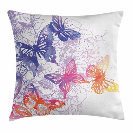 - Watercolor Throw Pillow Cushion Cover, Fantastic Composition with Flying Butterflies Flourishing Flowers, Decorative Square Accent Pillow Case, 16 X 16 Inches, Violet Blue Orange Pink, by Ambesonne