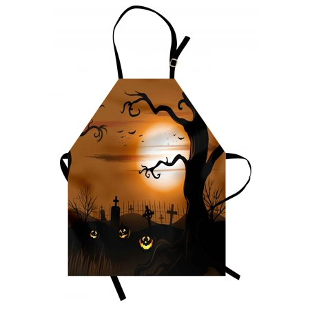 Halloween Apron Leafless Creepy Tree with Twiggy Branches at Night in Cemetery Graphic Drawing, Unisex Kitchen Bib Apron with Adjustable Neck for Cooking Baking Gardening, Brown Tan, by Ambesonne](Cooking Ideas For Halloween)