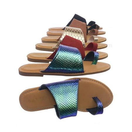 Shoreline09 by Bamboo, Asymmetrical Slide On Sandal - Women Flat Shoes w Toe Keeper Loop