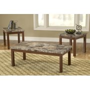 Bernards Faux Marble / Cherry 3 Piece Coffee Table Set