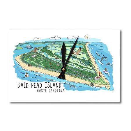 Bald Head Island, North Carolina - Line Drawing - Lantern Press Artwork (Acrylic Wall Clock) Bald Eagle Wall Clock