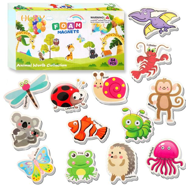 HLXY Refrigerator Magnets for Kids 64 PCS Animals Magnets ...