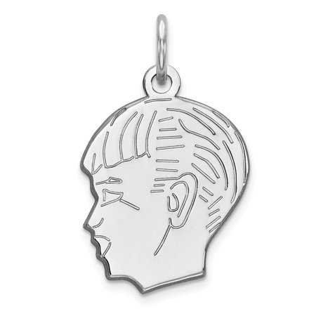 Sterl Silver Rh-plt Engraveable Boy Polished Front/Satin Back Disc Charm QM357/27 (21mm x 14mm) - image 2 of 2
