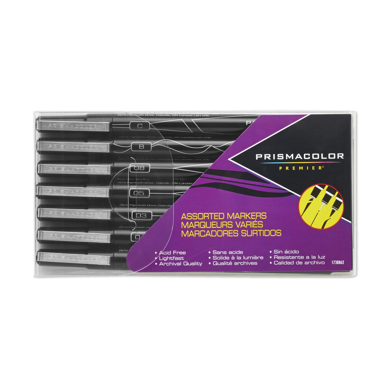 Prismacolor Premier Illustration Markers, Assorted Tips, Black, 7 Pack