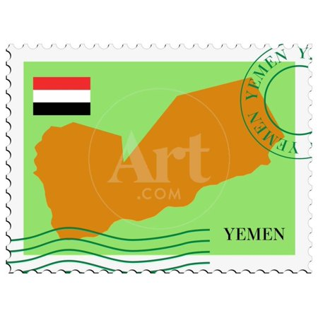 Stamp with Map and Flag of Yemen Print Wall Art By Perysty (Yemen Map)