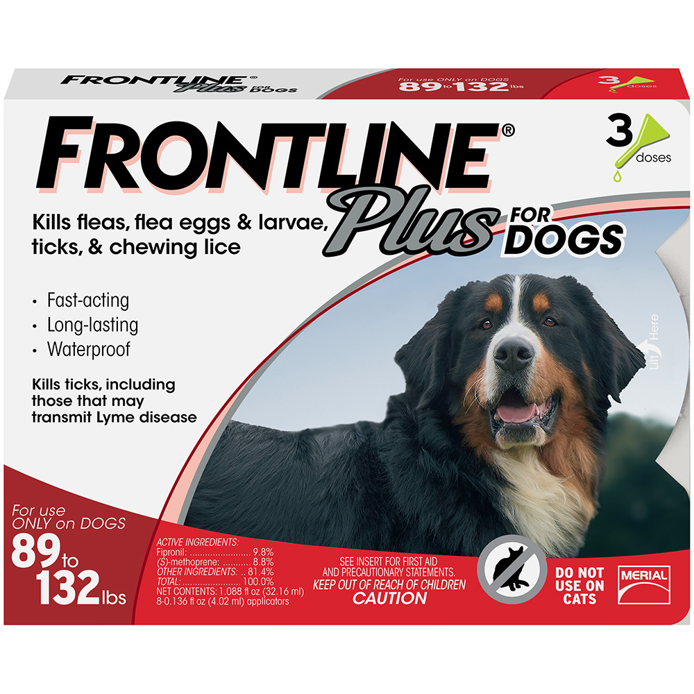Frontline Plus Flea and Tick Prevention for Extra Large Dogs, 3 Doses