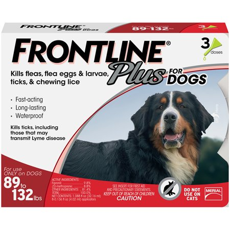FRONTLINE Plus for Extra Large Dogs (89-132 lbs) Flea and Tick Treatment, 3 Doses