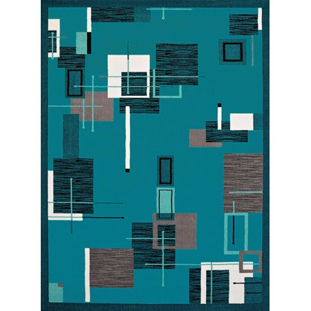 United Weavers Cafe Area Rugs - 950-10763 Contemporary Aqua Bordered Squares Lines Rectangles Rug