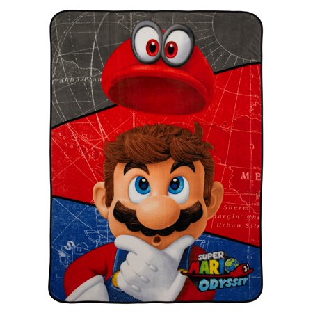 Super Mario Odyssey Plush Blanket, Kids Bedding, 62x90, Mario and Cappy