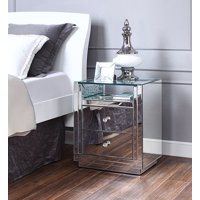 Acme Nysa Wooden Frame End Table In Mirrored And Faux Crystals
