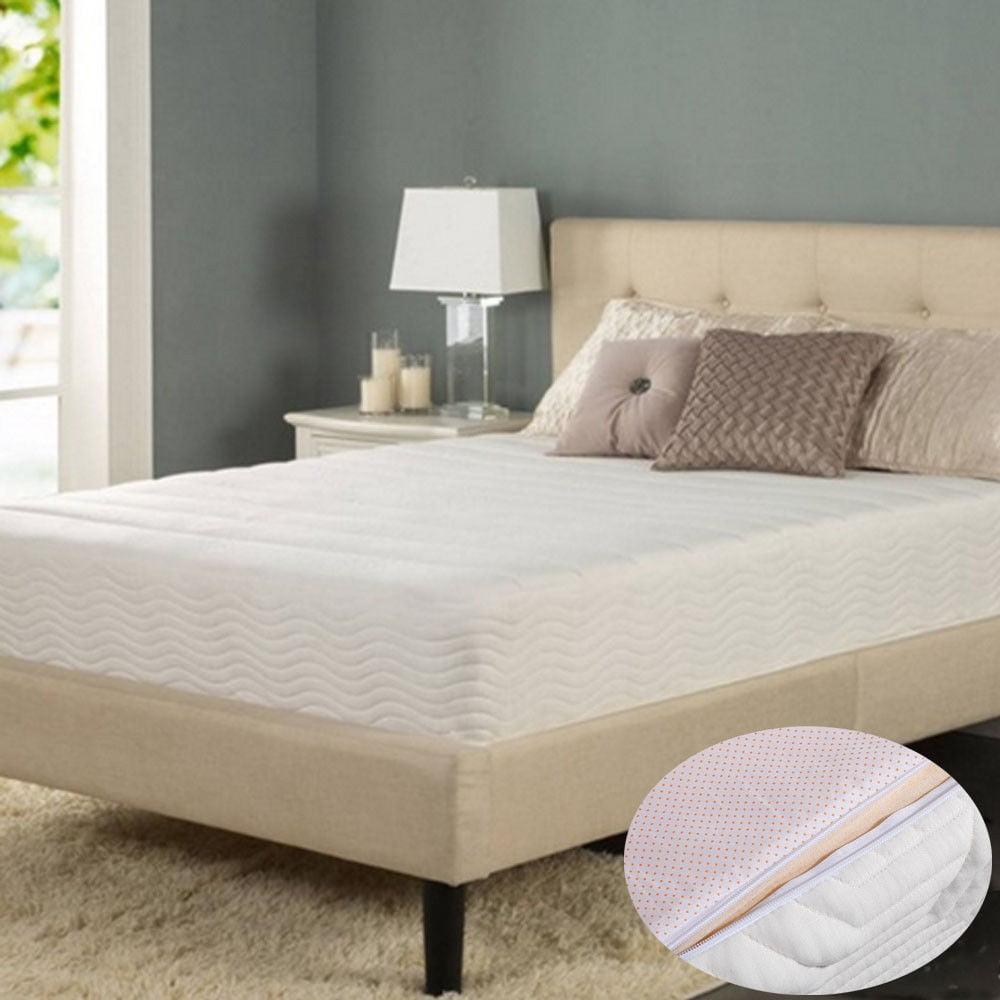 """Ktaxon 14"""" Cool Medium Firm Memory Foam Mattress 2 Free Pillows Queen Size White"""