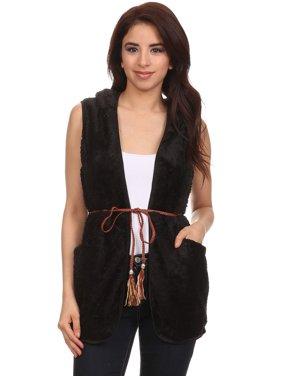 Women's Trendy Style Faxu Fur Hoodied Vest