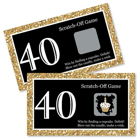 Adult 40th Birthday - Gold - Birthday Party Game Scratch Off Cards - 22 Count