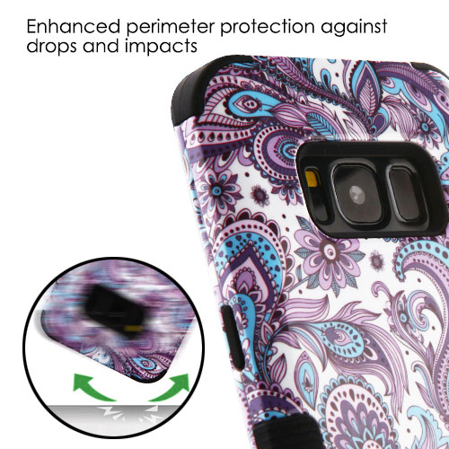 Samsung Galaxy S8 Phone Case TUFF Hybrid Shockproof Armor Impact Rugged Rubber Dual Layer Hard & Soft TPU Protective Cover - European Lace Purple Flowers