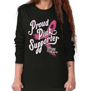 Brisco Brands Proud Pink Supporter Pray Cure Ladies Long Sleeve T-Shirt