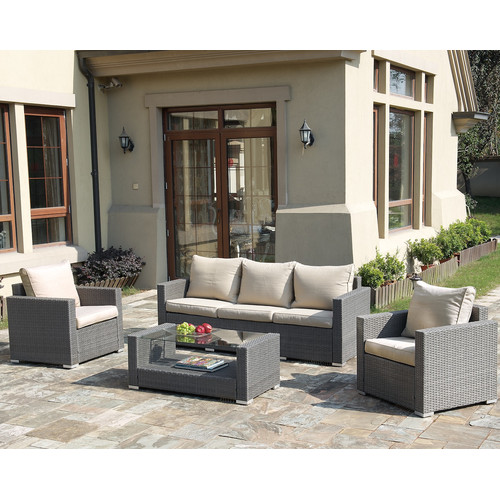 JB Patio Patio Wicker 4 Piece Seating Group with Cushions by Infini Furnishings