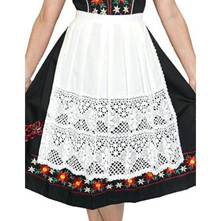 - German Long White Lace Apron for Dirndl