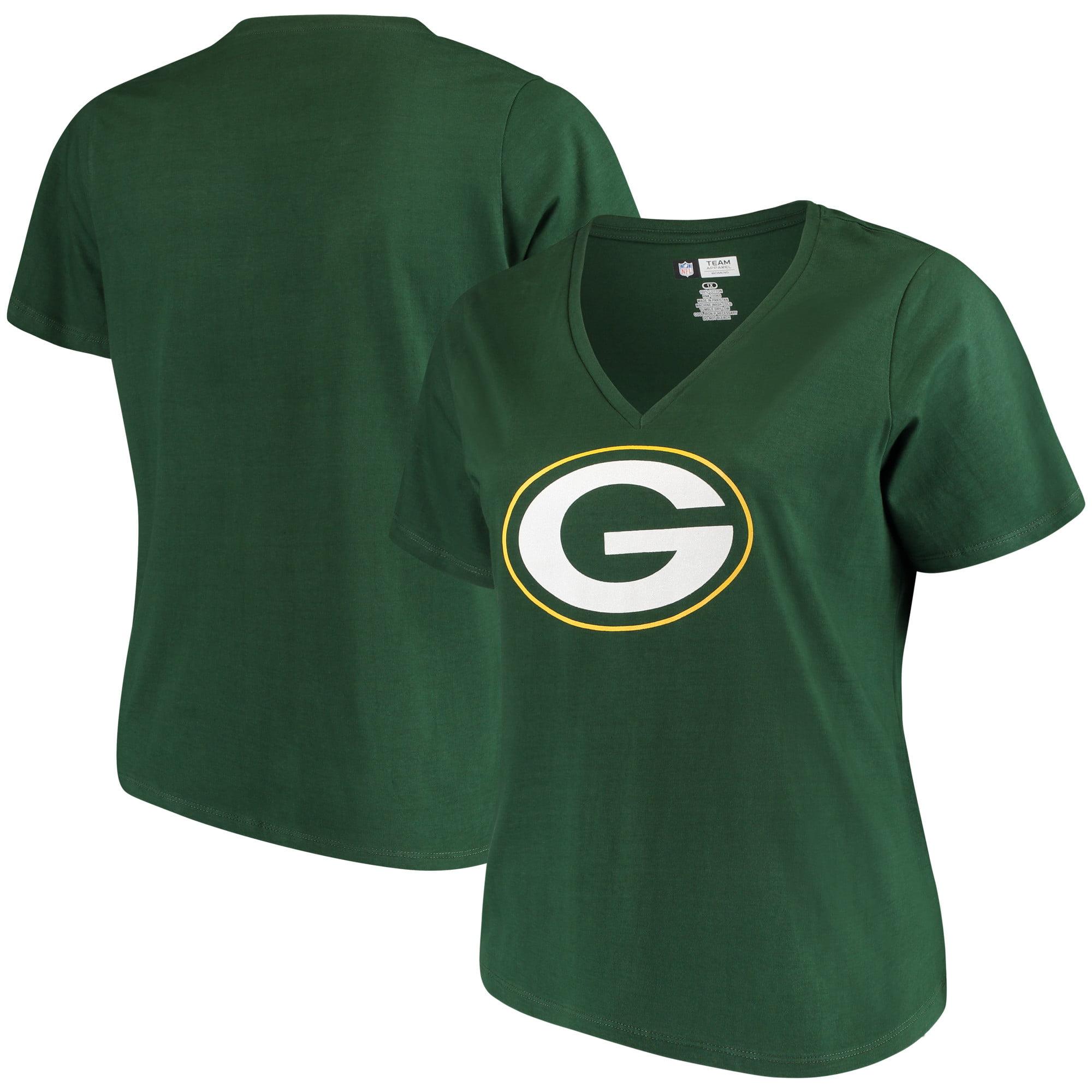 Women's Majestic Green Green Bay Packers Plus Size Logo V-Neck T-Shirt